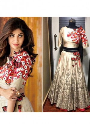LighGolden37 SIlk Net PartyWear Shilpa Shetty Butterfly Lehenga Choli at Zikimo