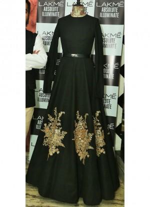 Black38 TafetaSilk PartyWear Prachi Desai Anarkali Suit At Zikimo