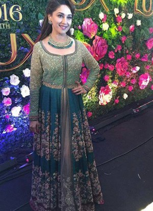 GreenBlue40 BangloriSilk PartyWear Madhuri Dixit Nene Anarkali Suit At Zikimo