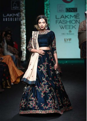 Blue46 SatinChaderi PartyWear Lehenga Choli at Zikimo