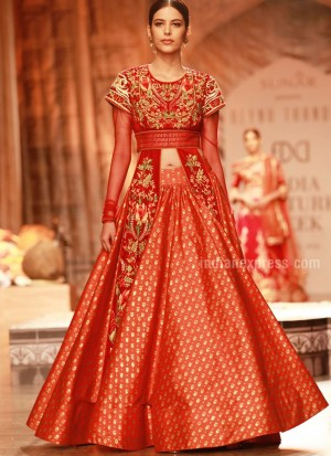HotOrange49 SatinSilk PartyWear Lehenga Choli at Zikimo