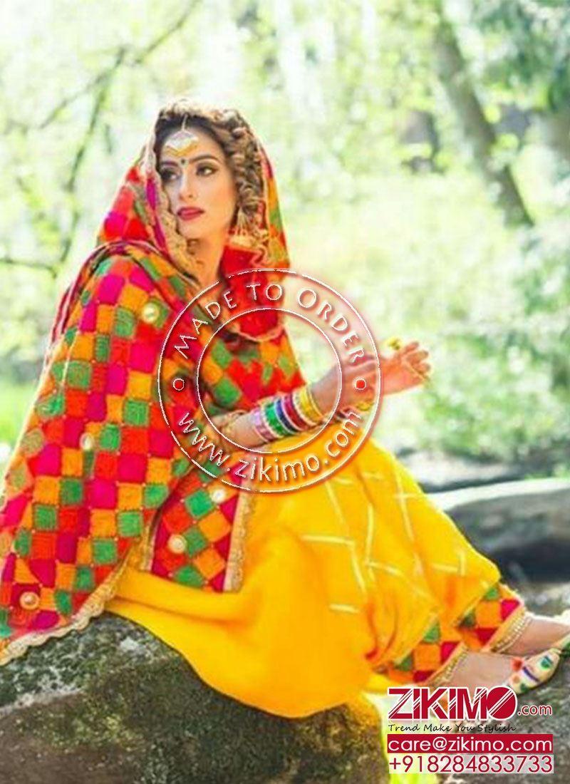 0d2ce20c30 Yellow Color Original Mirrorwork With Gottalace DupiunSilk Punjabi Salwar  Suit With Phulkari Dupatta ...