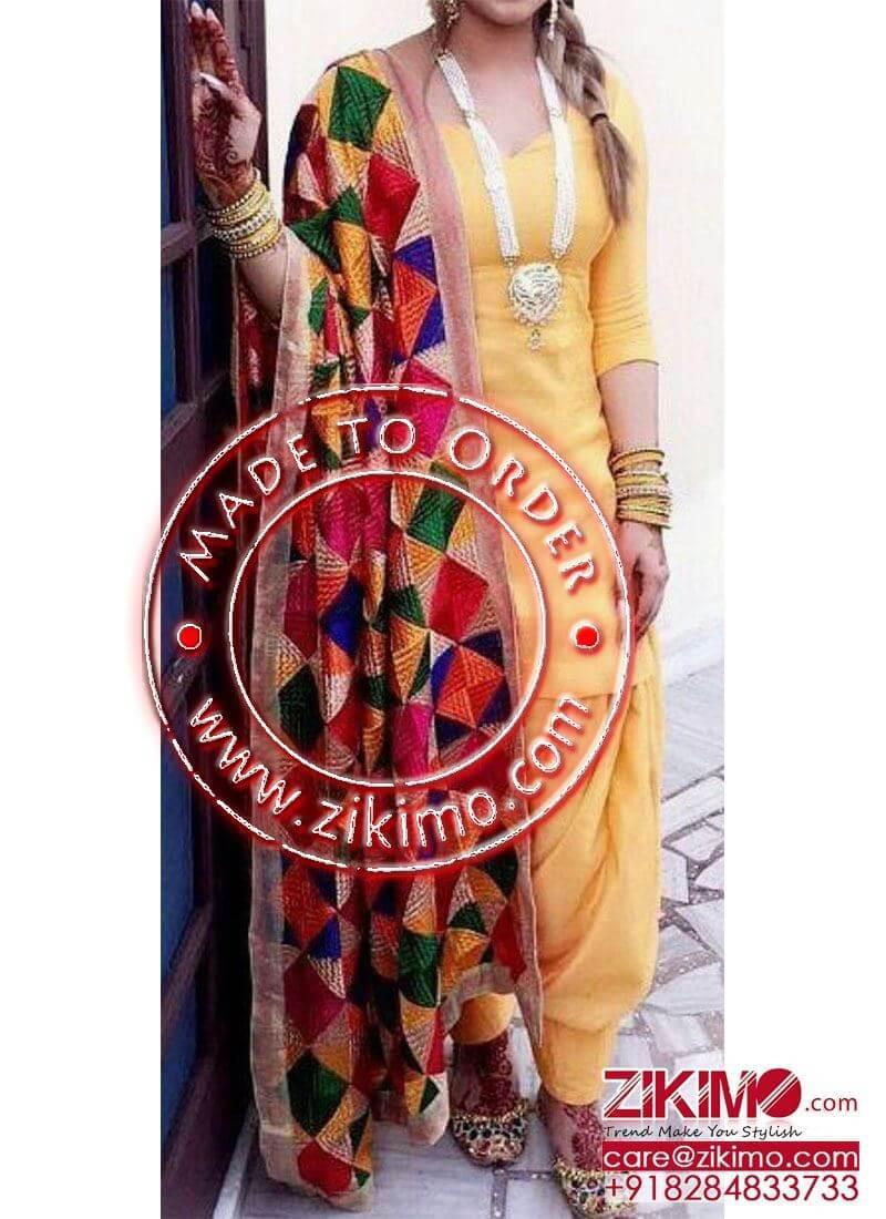 7eabf896d5 Yellow Plain Silk Punjabi Salwar Kameez With Phulkari Dupatta at ...