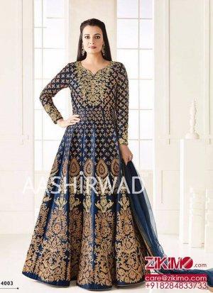 e21cf81c79 Diya Mirza4003 NavyBlue TaphetaSilk Indian Wedding Wear Embroidred Anarkali  Suit at Zikimo