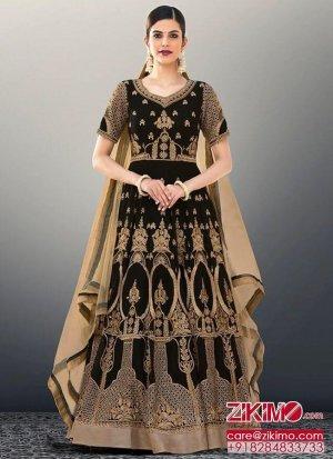 b48c8fc2d8 Georgette1902 BlackGolden Indian Fusionwear Beadswork Anarkali Salwar Kameez  at Zikimo
