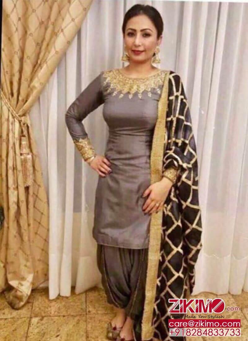 Grey Black DupionSilk Punjabi Salwar Kameez With Heavywork ...
