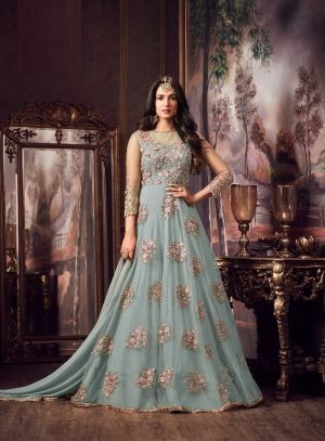 Designer Dress With Net With Heavy Embroidery Work